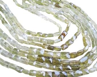 Grossular Garnet Beads, Faceted Pillow Cut, Multi Color Garnet, Green Garnet Beads, SKU 1485A