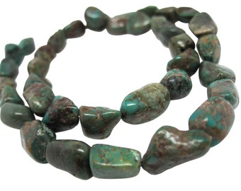 Turquoise Nugget, Turquoise Beads, Green Blue Turquoise, December Birthstone, SKU 4515A