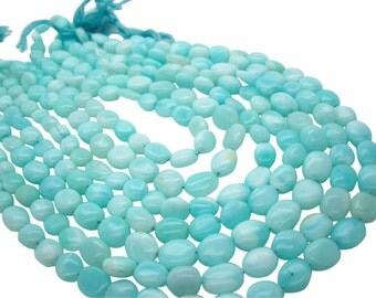 Peruvian Blue Opal Beads Oval, Smooth Oval, 7mm x 10mm, Aqua Blue, SKU 4942