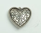 Heart Pendant, 2 sided 28mm width, antique silver finish , 3/each 09514AS