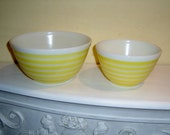 RESERVED - SOLD - PYREX Mixing Bowls Yellow Stripes milk glass pastel rings 1.5 pt 407 #35 and 1.5 qt 402 #28 vintage 1960's glass