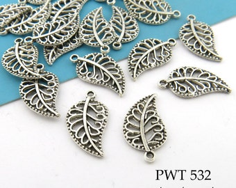 Small Filligree Openwork Pewter Leaf Charm 18mm Silver Tone (PWT 532) 20 pcs BlueEchoBeads