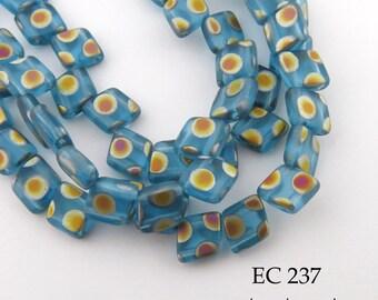 6mm 2 Hole Czech Glass Turquoise Peacock Trapezoid Diamond Tile Bead (EC 237) 25 pcs BlueEchoBeads