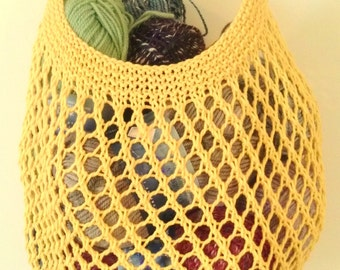 Mesh Market Bag. Shopping Tote Bag. Bright Yellow Gold. Cross Body Strap. Mesh Net Bag. Lace Knitted Bag. Beach Bag. Farmers Market Bag.