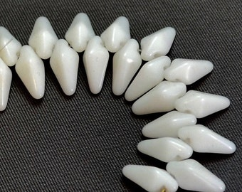 Vintage Opaque White Long Pyramid Drops (19)