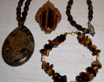 Vintage Tiger Eye Necklace Bracelet Pin Pendant 14kt gold beads freshwater pearls estate jewelry