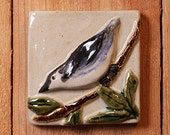 Handmade 4x4 ceramic nuthatch bird tile comes with a hanger on the back
