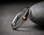 Natural brown untreated rose cut diamond and 14k rose gold and sterling silver engagement ring bezel set