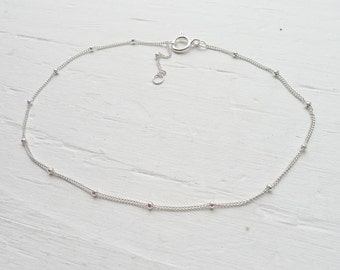 Sterling Silver Anklet Beaded Wish Chain Adjustable Size 9 to 10 inches Dainty Anklets Just add a Charm! (NH2844910)
