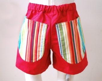 PALM RESORT handmade boy short pants, toddler boy summer shorts, handmade boy tropical trousers