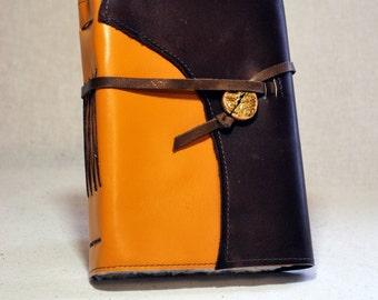 Medium Golden Yellow Leather Journal with Handmade Paper