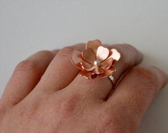 Copper Flower Ring, Flower Ring, Copper Ring, Silver RIng, Sterling Silver RIng, Statement Ring, Natural Copper, Copper Jewelry, Pretty Ring
