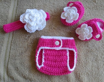 Baby Girl Crochet Headband Hairbow Booties Diaper Cover Baby Shower Gift Photo Prop  MADE TO ORDER