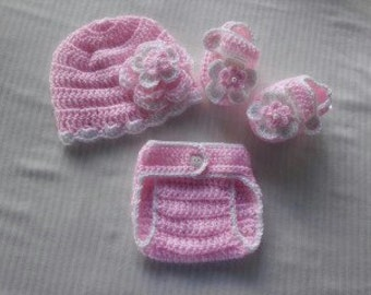 Baby Girl Infant Girl Crochet Hat Beanie Booties Adjustable Diaper Cover Baby Shower Gift Photo Prop Reborn Baby 10002 MADE TO ORDER