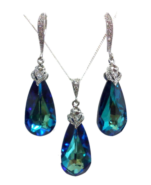peacock wedding jewelry set something blue bridal earrings