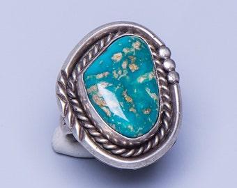 Navajo Turquoise Ring - Pilot Mountain - Signed JT - sz 6