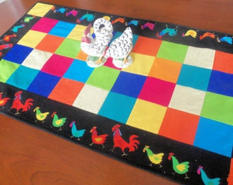 Handmade Table Runner/ Rooster TableRunner/ Colorful Rooster Table Topper/Rooster and Chicken Table Topper/Quilted Table  Runner/Table Linen