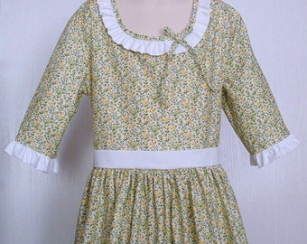 Girls Colonial Market Day Dress  Civil War Costume  Pioneer Size 10/12  -    -    Ready to Ship