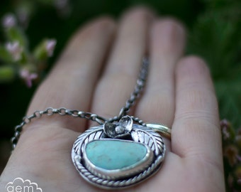 Sterling silver and Natural Tyrone Turquoise bohemian rustic necklace - For I Grow -