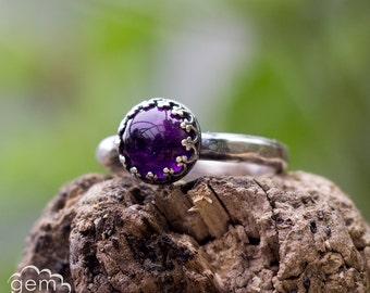 Amethyst sterling silver ring - Elegance -