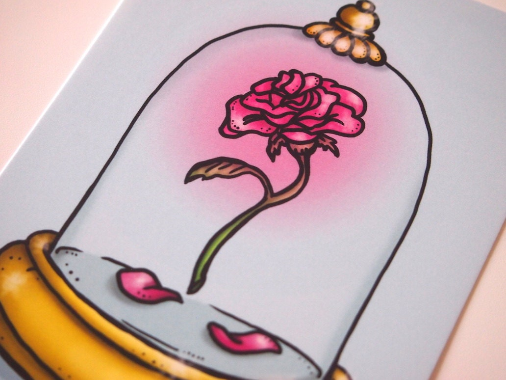 Enchanted Rose Drawing: Enchanted Rose Beauty And The Beast Postcard