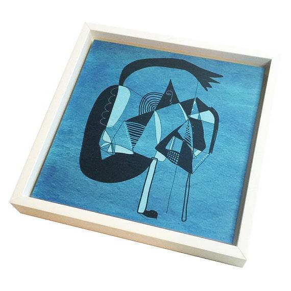 "Kyte Man - Digital Print on Wood - Framed - 8""x8"""