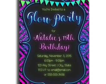 Glow Party Invitation PRINTABLE PDF ONLY