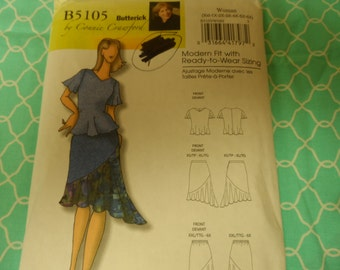 B7utterick 5105 Women's Connie Crawford  Blouse, Top and Skirt Pattern Sizes Xx;-1X-2X-3X-4X-5X-6X