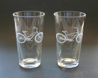 Beach Cruiser Bikes Etched Pint Glasses Engraved Bicycle Beer Glasses Set of 2 His and Hers