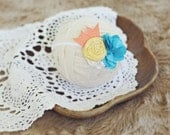 baby and toddler headband // photography prop // newborn photo prop // shabby chic // teal yellow orange // beach bum // flower band