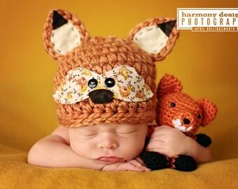 Fox Baby Hat - Newborn Fox Hat - woodland fox  - foxy - vintage fabric mask - baby girl - newborn photo prop - Newborn Size