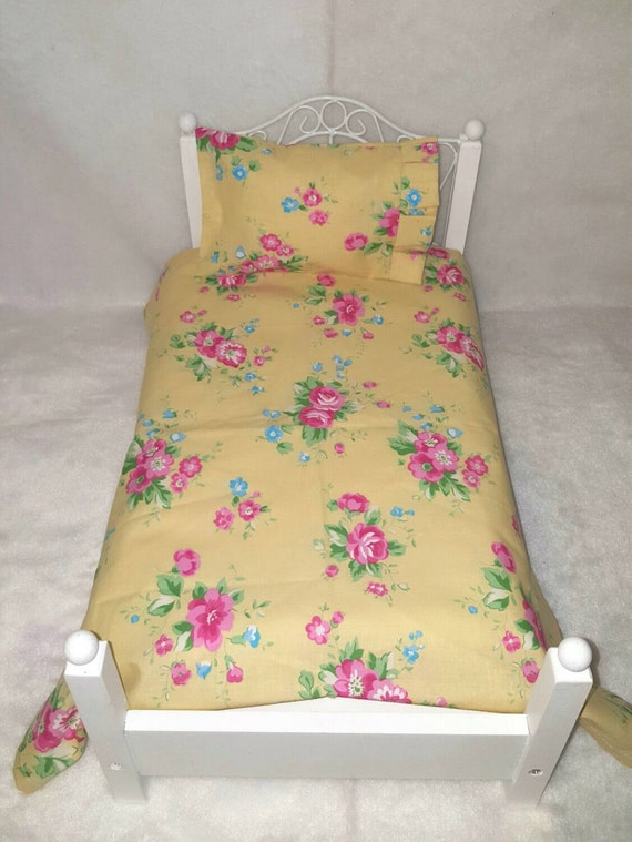 American Girl, Yellow Floral, Vintage Look, Sheet Set