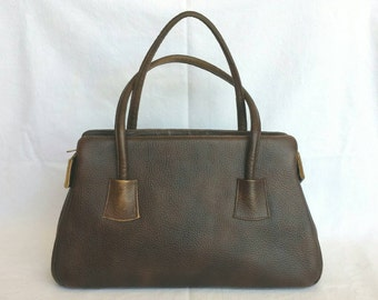 1960s Pebbled Leather Brown Purse // Classic Midcentury Mod Chic