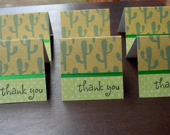 Cactus Themed Mini Thank You Cards 2x2 (6)