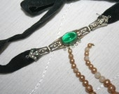 Antique Choker Edwardian Rescue Repair Black Velvet Silver Green Glass