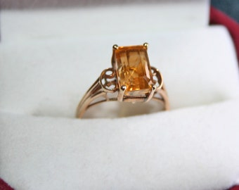 Vintage Citrine Ring 14k Gold Rectangle Step Cut Golden Yellow