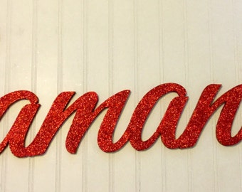 Red glitter connected name wall letters for baby and kids nursery wooden name