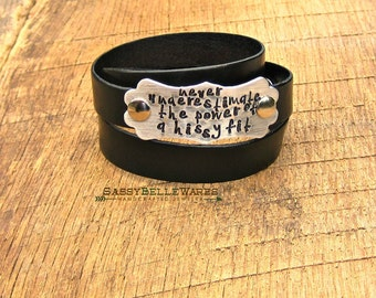 Never Underestimate the Power of a Hissy Fit Black Leather Wrap Bracelet southern girl belle charm saying phrase quote country adjustable