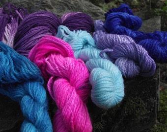 Leftie Kit, sock yarn shawl kit, handpainted wool sock yarn kit Ravelry pattern-Royals