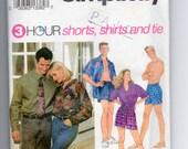 Boxer Shorts Shirt Tie Pattern Simplicity 8150 Men Women Teens XS S Med 32-40