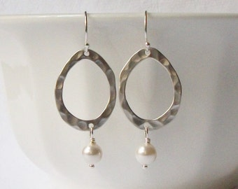 ON SALE Pearl Dangle Earrings, Bridesmaid Jewelry Gift
