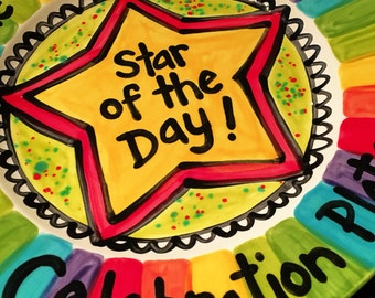 "Family Name CUSTOM 10"" OR 7"" Star of the Day Personalized celebration dish"