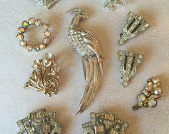 RESERVED for CHARLOTTE  Destash Vintage Rhinestone Brooches lot for Creating Treasures Craft/Bridal Bouquet Jewelry Lot of 27 pcs