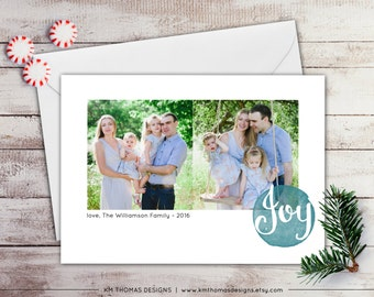 Joy Holiday Photo Card - Winter Photo Card - New Years Photo Card - Christmas Photo Card - Watercolor - Joy - WH212