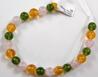 Mix Gemstones, Rose Quartz, Citrine, and Peridot. 8 mm - 8.5 mm round, One Factory Strand
