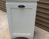 JAVIOBR CUSTOM ORDER side by side pull out painted white Oak Trash Bin/ Recycling Bin