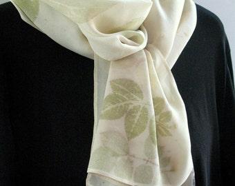 Eco Print Silk Scarf, Botanical Leaf Silk Scarf, Natural dyes scarf