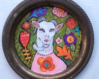 Folk Art Goat Painting on a Vintage Tray