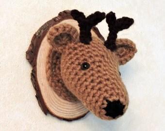 Faux Taxidermy Deer Head...Hand Crocheted.....Miniature...Nursery Decor..Cabin Decor..Mount..Rustic..woodland ..buck..hunter..antlers