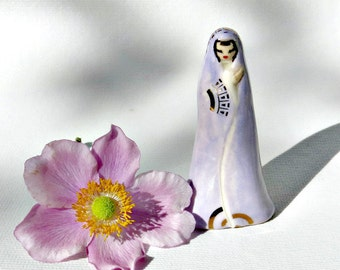 Pastel Purple Goddess High Priestess Figurine Handmade One of a Kind Statue Art Sculpture Ceramic Porcelain Figure